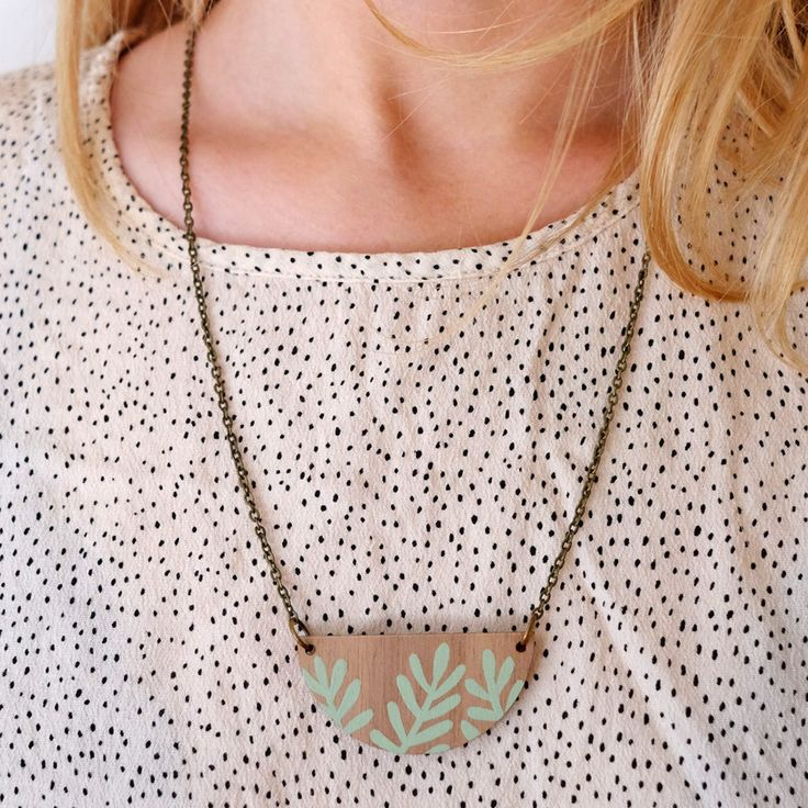Wooden Sprig Leaf Necklace Mint Green on Walnut by Stephanie Cole Design ©Stephanie Cole 2017