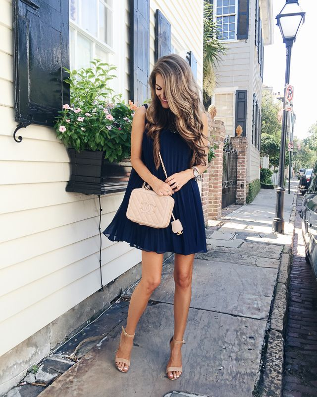 navy pleated dress (comes in two colors!), also love this pleated dress Steve Madden Carrson heels // monogram necklace // Michele watch // David Yurman bracelet