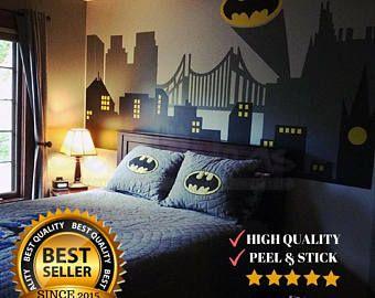 Superhero Wall Decal - Gotham City Wall Decal - Batman Sticker - City Skyline - City Wall Decal - Batman Wall Decal - DI1402