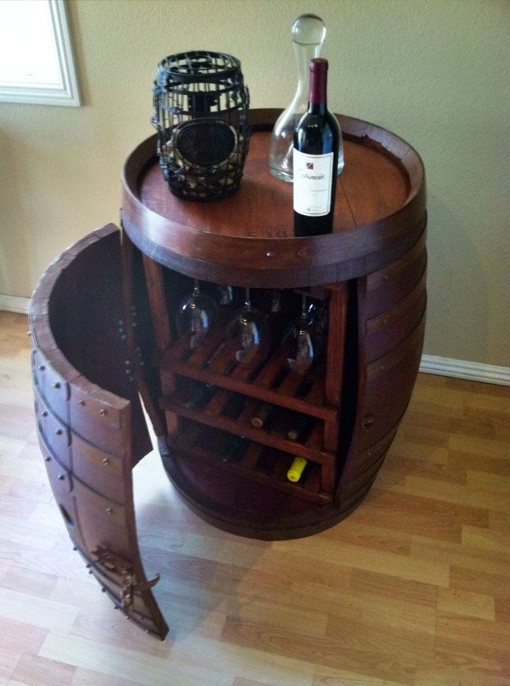 Wine Barrel Cabinet with Wine and Glass by ReclaimedWoodDesigns, $575.00