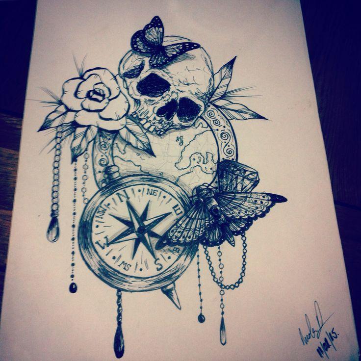 Skull bead butterfly moth compass globe tattoo design art