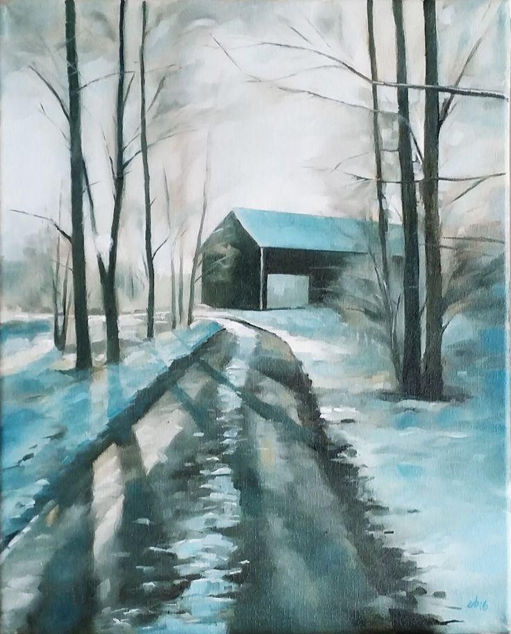 Vinterskuggor.  #målning #oljemålning #oljemålningar #konst #erikspalett #painting #oilpainting #oilpaintings #art #artist #sweden #härnösand #häggdånger #oil #colors #oilcolor #colour #oilcolour