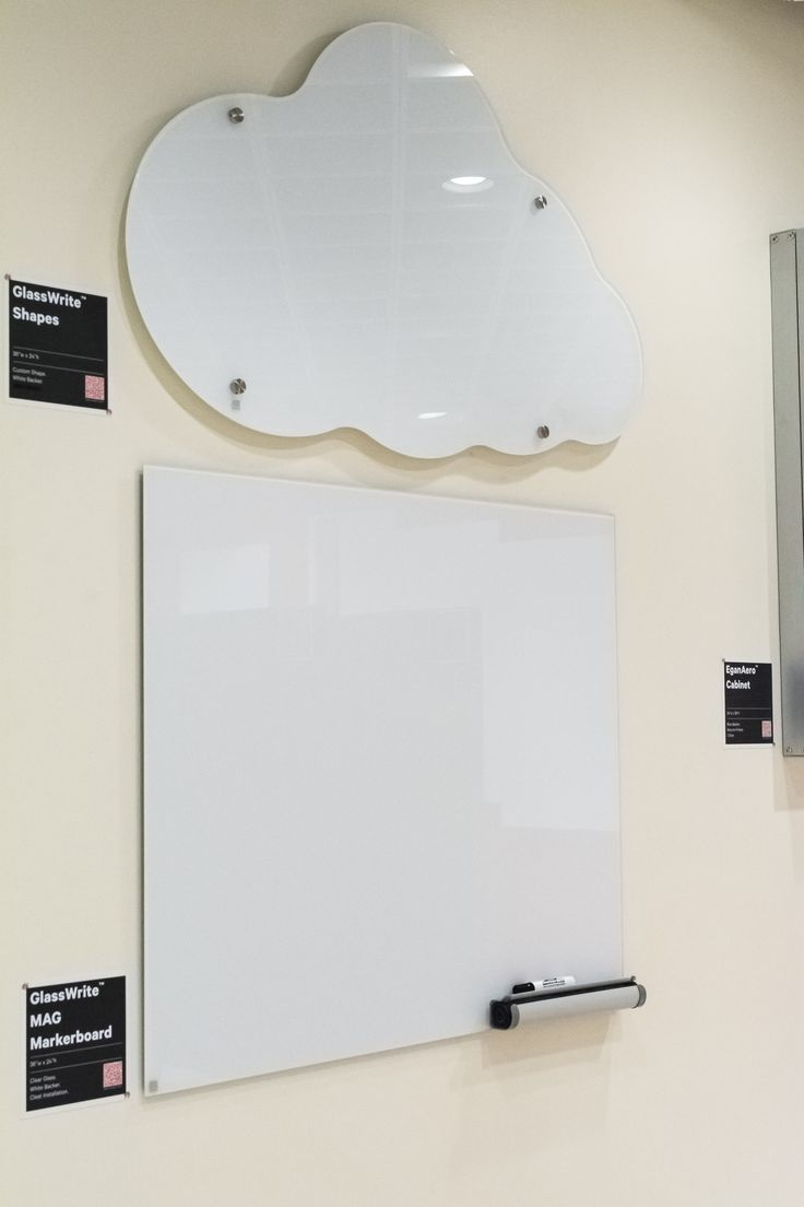 """Egan GlassWrite Shapes """"Cloud"""" Back Painted White and Egan GlassWrite MAG Markerboard Back Painted White"""