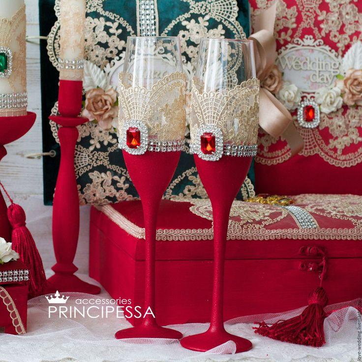 """Купить """"Бордо и изумруд"""" бокалы свадебные - бордовый, Аксессуары handmade, аксессуары ручной работы"""
