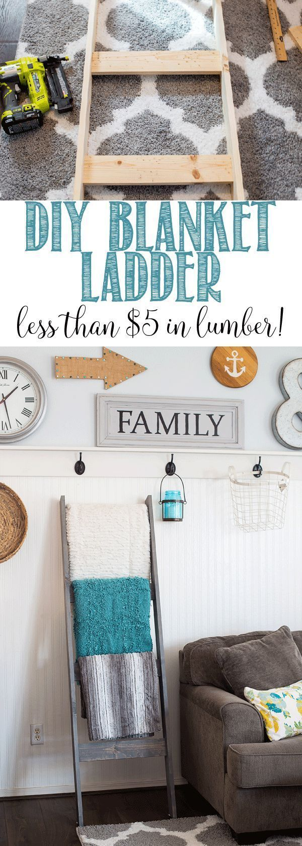 DIY Woodworking Ideas DIY Blanket Ladder for less than $5 in lumber!!!! Great step by step tutorial so...
