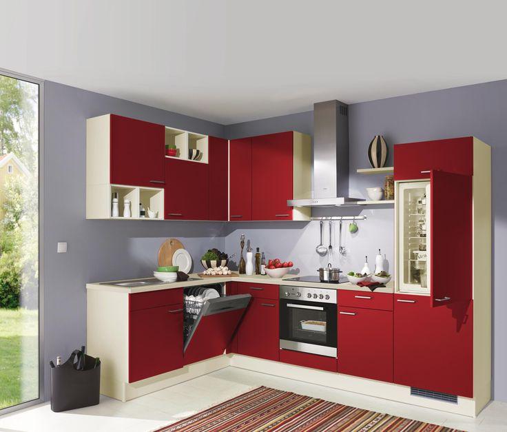 Chice Küche von XORA in kräftigem Rot Küchenblöcke Pinterest - kleine küchenzeile mit elektrogeräten