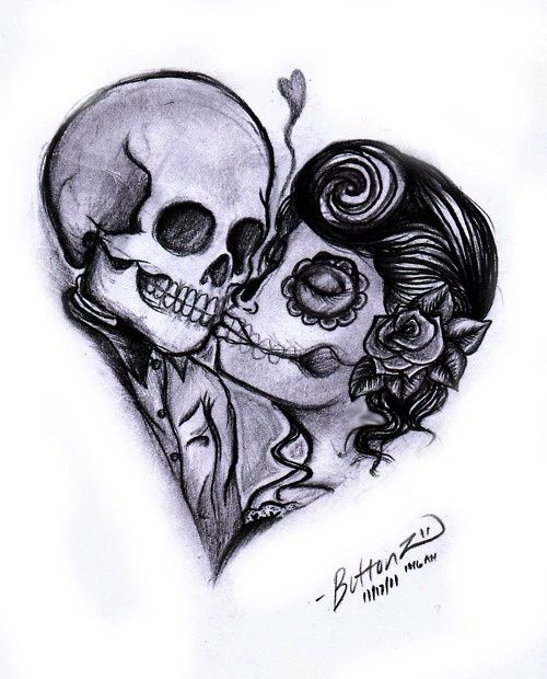 tattoo couple day of the dead inspired.. I like it except theres something about her face..needs to be fixed a lil.. Stretched to far or somethin..