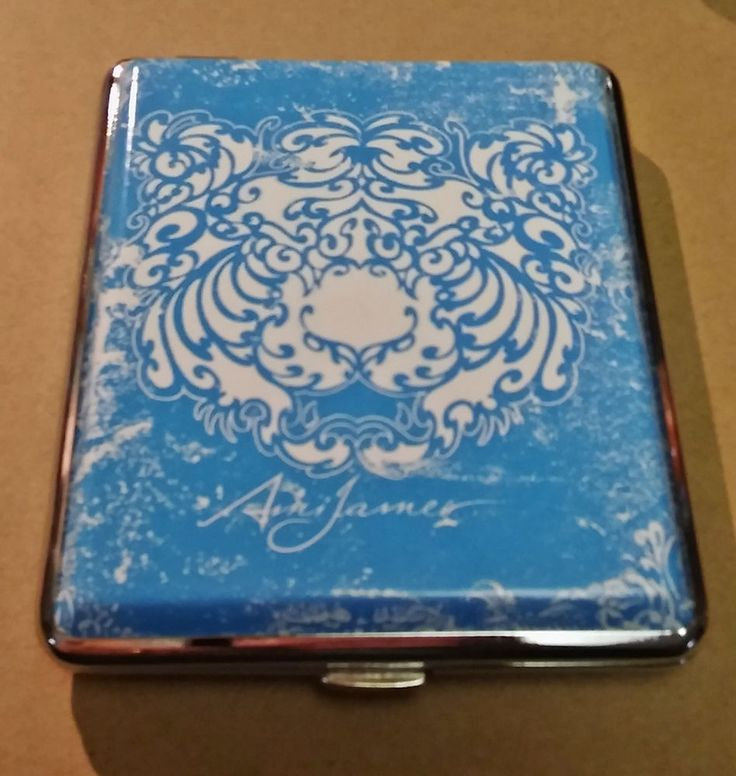 Ami James Ink Silver Framed PU Leather 100s Cigarette Case Style #14