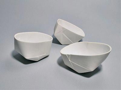 These delicate porcelain bowls from Danish designer Karin Blach Nielsen are made from molds of folded paper. The folds, creases and imperfections of paper are replicated in the more permanent porcelain shapes...