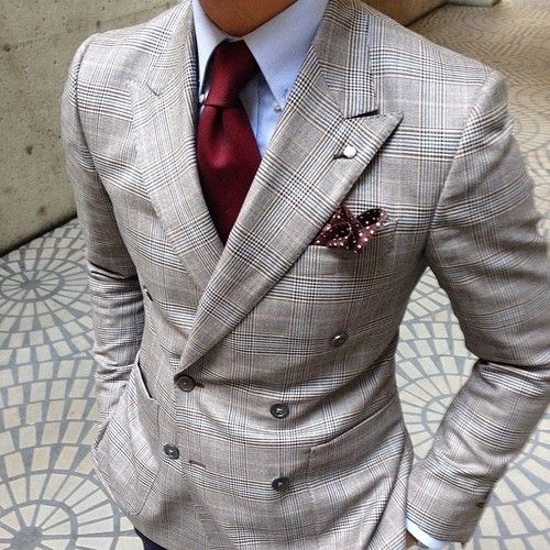 window pane plaid suit. light blue oxford. maroon tie. maroon patterned pocket square. awesome. dapper. style.