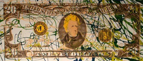 Steve Kaufman Prints for sale - 1995 Twenty dollar Jackson II  More info: https://www.artetrama.com/en/artworks/steve-kaufman-1995-twenty-dollar-jackson-ii  #stevekaufman #popart #dollars #bill #canvas #silkscreen #fineart #prints