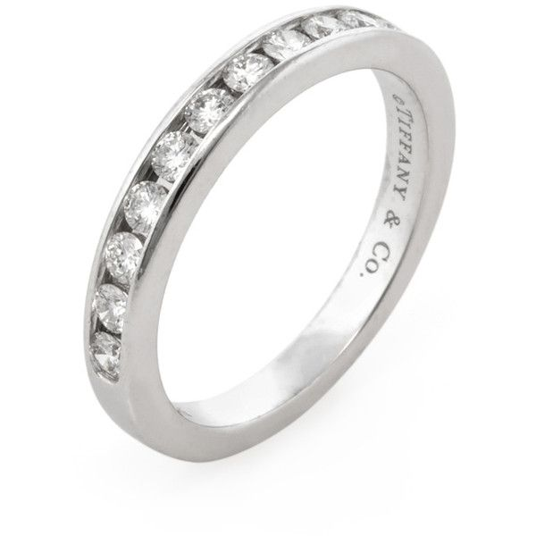 Tiffany & Co. Women's Tiffany & Co Diamond Wedding Band - Size 6.25 (8.245 BRL) ❤ liked on Polyvore featuring jewelry, rings, no color, wedding rings, wide rings, round cut rings, vintage wedding rings and wide-band diamond rings