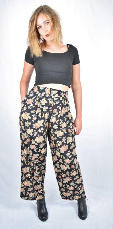 high waist vintage broek met bloemenprint