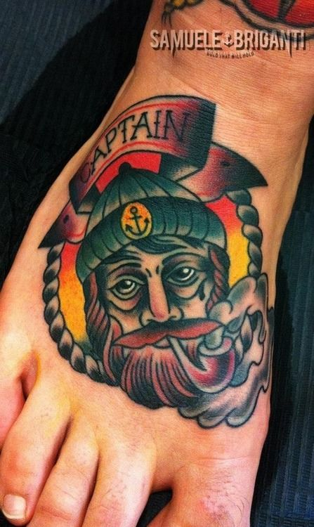 tattoo old school / traditional nautic ink - capitain (by Samuele Briganti)