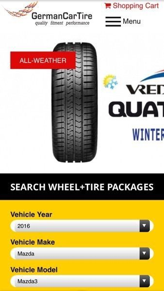 Winter package (tires on wheels) for 2016 Mazda 3. Available to buy online. Check the website for more choices or to order winter tire & alloy wheel packages. Price per package (4 tires & 4 wheels). Comes with a tire professionally installed on a wheel.  www.GermanCarTire.ca