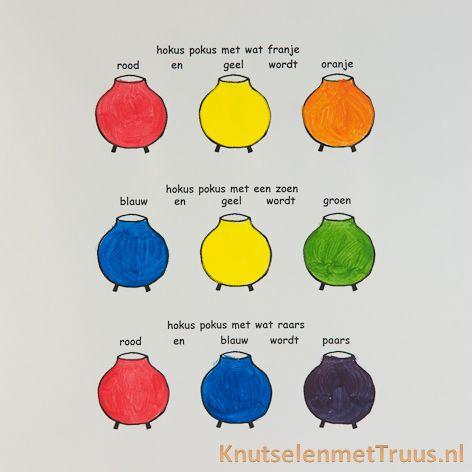 Begeleide of zelfstandige activiteit - Kleuren mengen met rijmpjes erbij