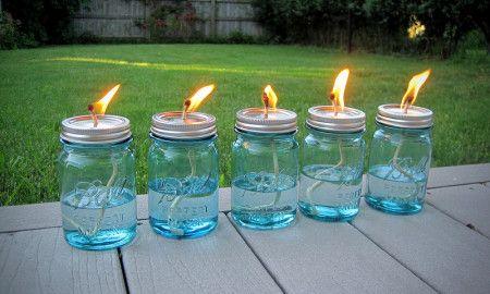 Mason Jar Citronella Oil Lams (Keeps The Flies Away)