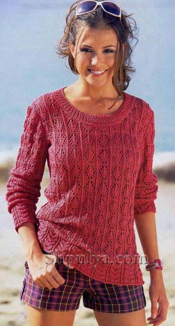 Малиновый ажурный пуловер с широкой планкой