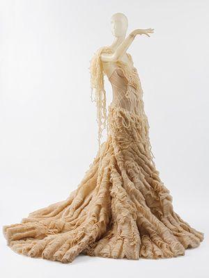 Dress, spring/summer 2003  Alexander McQueen (British, 1969–2010)  Shredded ivory silk chiffon and tiered silk organza