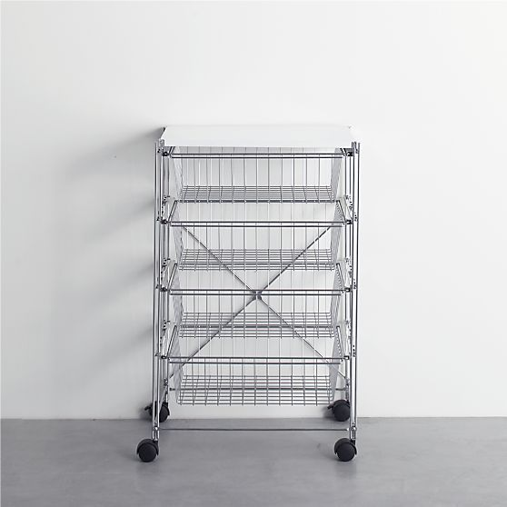 MAX Chrome 4-Drawer Cart with White Top in Laundry | Crate and Barrel