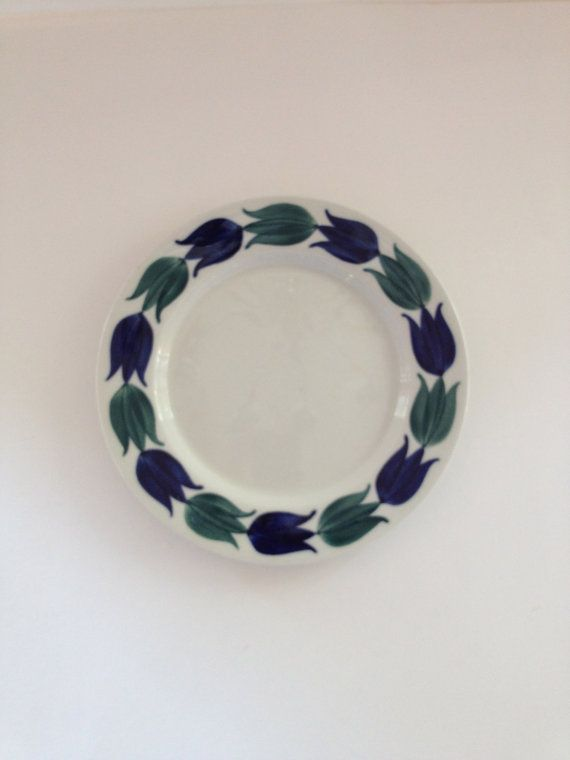 Arabia Finland Birca Plate Hand painted w Tulips by VintageByBeth, $19.00