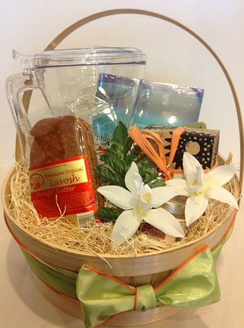 """High Tea in Paradise Let Hawaiian music soothe you and drift off to """"Paradise"""" while sipping on a fresh cup of tea!       The perfect stress reliever presented as shown in a bamboo basket includes:  Hawaiian Music CD Hawaii Tea Handy Brew Acrylic Tea or Coffee Maker Rare Hawaiian White Honey Hawaiian Healing Loose Tea Tropical flavored Lavosh #hawaii #giftbasket #tea #music #bigisland"""