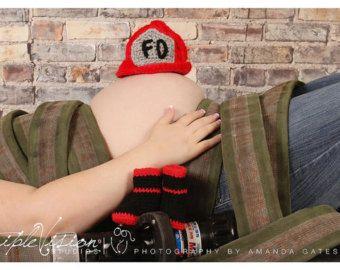 Recién nacido bombero casco sombrero tirantes por Babyinthehat