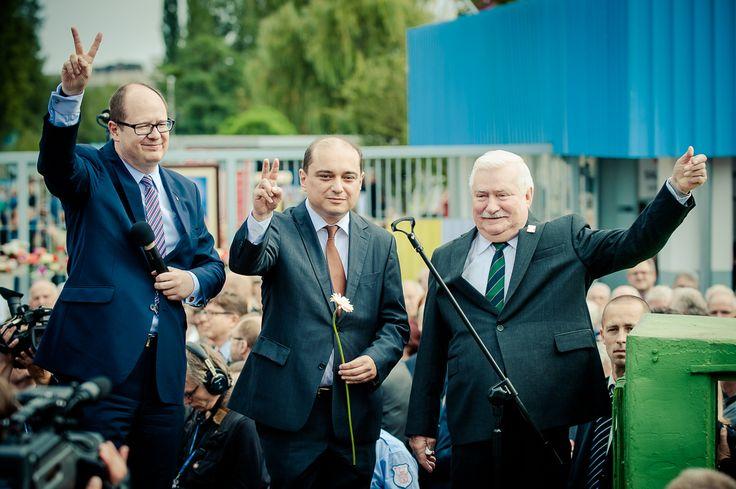 from right: Lech Wałęsa - former President of Poland, former Solidarity President. Basil Kerski - Director of ECS, Paweł Adamowicz - Mayor of Gdansk