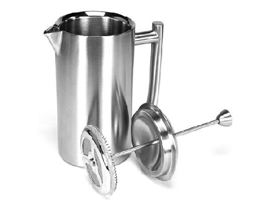 Frieling French Press, Brushed Finish, 16 fl. oz.   Well-made and double walled, these stainless steel french presses keep liquids hot four times longer than a glass press. With a sleek design, and steel mesh plunger, the Frieling press is built to stand the test of time.