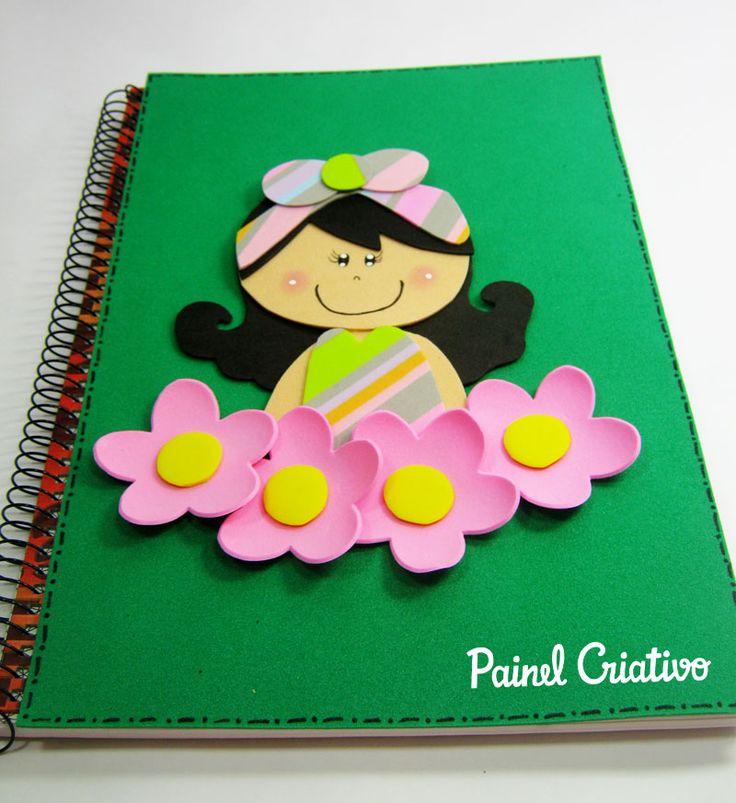 como fazer capa de caderno agenda diario eva meninas escola  (4)