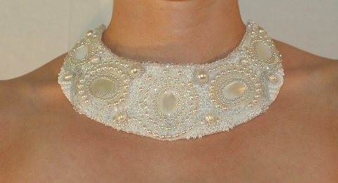 Crystal Belle bead embroidered necklace by Belle & Chain on Rise Creatives
