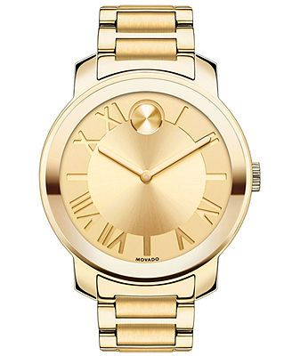 Movado Watch, Women's Swiss Bold Gold Ion-Plated Stainless Steel Bracelet 39mm 3600197