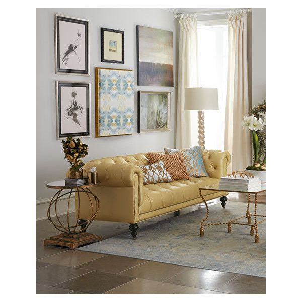 Old Hickory Tannery Leather Sofa by Morgan Sunshine TuftedLight Yellow ($2,999) ❤ liked on Polyvore featuring home, furniture, sofas, handcrafted furniture, yellow leather couch, yellow leather sofa, yellow furniture and tufted couch