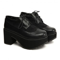 $24.87 Vintage Black Leather Women's Ankle Boots With Splicing and Platform Design