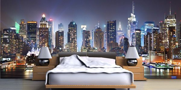 New york wallpaper murals decor on bedroom ideas theme for City themed bedroom ideas