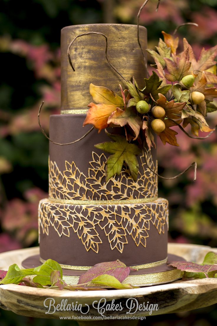 - My entry for the Cake Masters autumn cake competition UK in the Professional category.  The beautiful colors in my garden gave me the inspiration for this small wedding cake. The autumn colors match very nicely with gold lace on the chocolate brown cake on the 2nd and 3rd tier. The leaves instead of the flowers are more typical for this season and still give the cake an elegant look. I do hope that you'll like it.