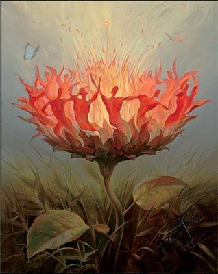"NOT painted by Salvador Dali. Painting title: ""Fiery Dance,"" by Vladimir Kush (Russian, b.1965) http://vladimirkush.com/fiery-dance"