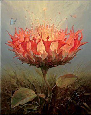 "NOT painted by Salvador Dali. Painting title: ""Fiery Dance,"" by Vladimir Kush (Russian, b.1965) http://vladimirkush.com/fiery-dance"