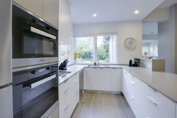 Designer Russell Henderson Brighton Kitchen  Minimal, White, Grey, Window Backsplash, Wall Oven