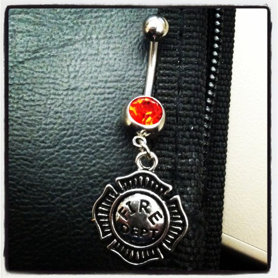 Firefighter's Maltese cross navel belly ring on Etsy, $8.00