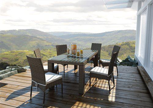 velky stol z umeleho ratanu so stolickami pieskovy