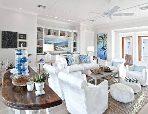 beach house living room in white and blue.
