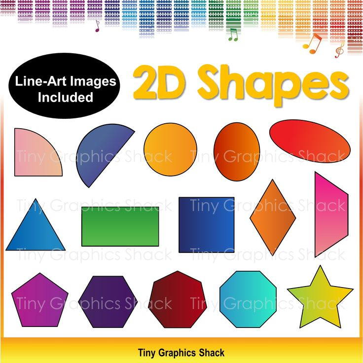This set includes 30 color and b/w images of 2D shapes: quarter circle, semicircle, circle, oval, long oval, triangle, square, rectangle, diamond, trapezoid, pentagon, hexagon, heptagon, octagon, star