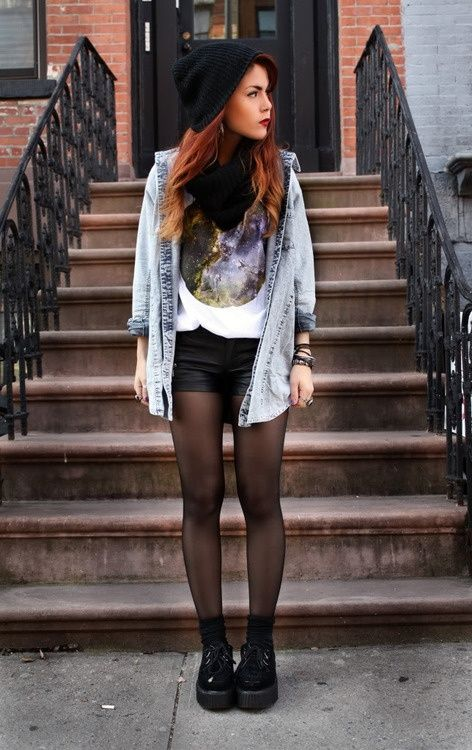 Shoes clothing outfit denim shirts shorts tights hair my style