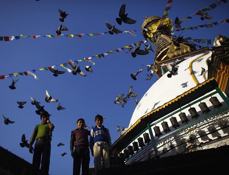 Afternoon light at Swayambhu Stupa in Nepal.