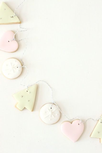 Christmas decorations - homemade cookie garland with salt dough