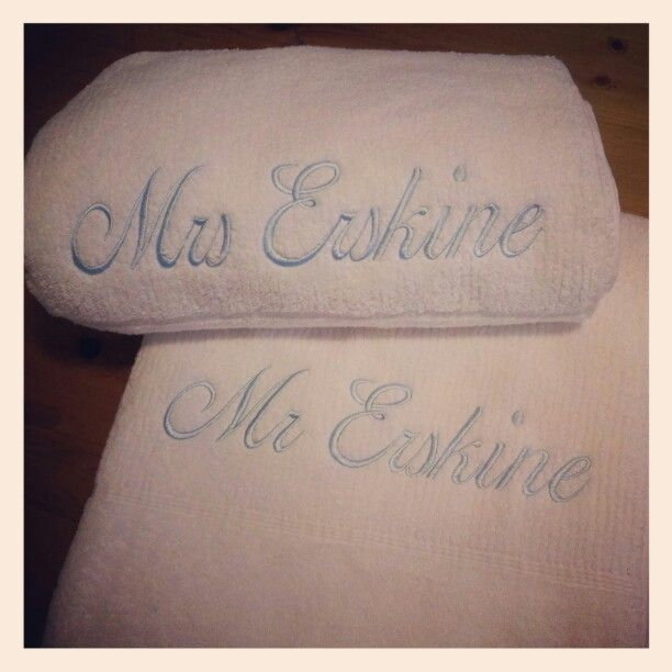 Matching his and her's personalised towel sets for a wedding gift.