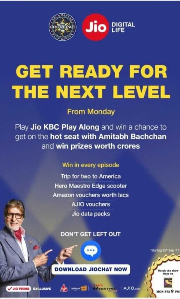 Jio Chat KBC Play Along App Download - Play the Contest & Win Prizes