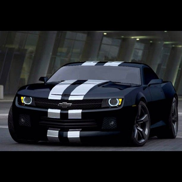 Nice Black Chevy Camaro With White Stripes Awesome Cars