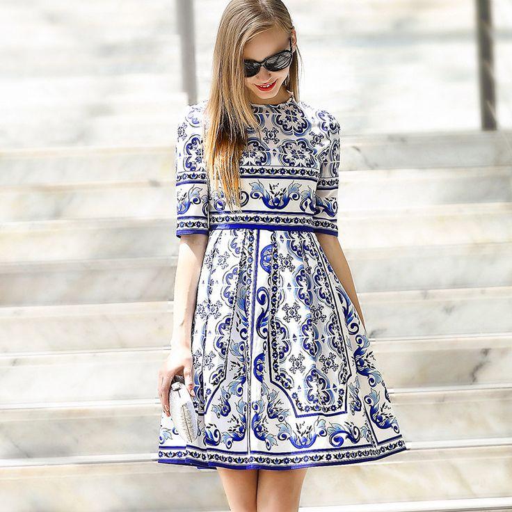 Beautiful European Fashion Spring Runway Vintage Porcelain Print Half Sleeve Dress